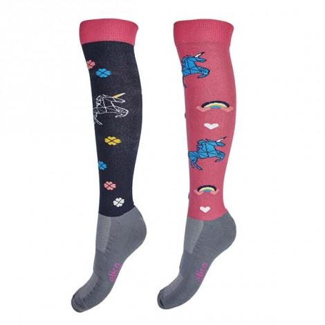Elico Ladies Riding Socks - Unicorn 2 Pairs